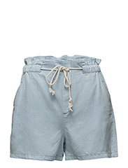 Denim soft fabric shorts - OPEN BLUE