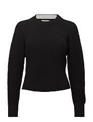 Ribbed cotton-blend sweater - BLACK