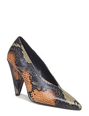Snakeskin print heeled shoes - BLACK