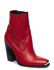 Leather cowboy ankle boots - RED