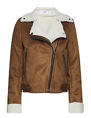 Faux shearling jacket - DARK BROWN