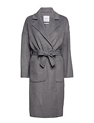 Unstructured wool-blend coat - GREY