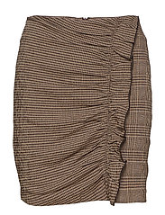 Ruffled checked skirt - BROWN