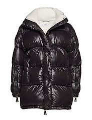 Quilted water-repellent coat - BLACK