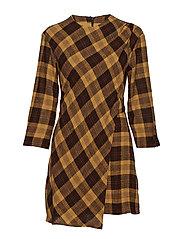 Check dress - BROWN