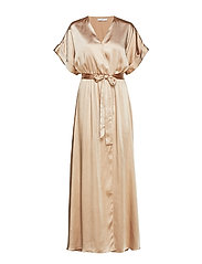 Satin tie dress - GOLD
