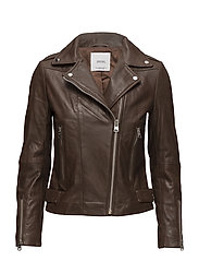 Zipper leather biker jacket - BROWN