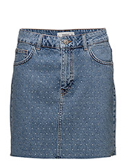 Crytals denim skirt - OPEN BLUE