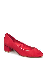 Heel leather shoes - RED