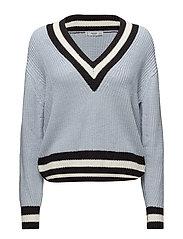 Contrast panel sweater - LT-PASTEL BLUE