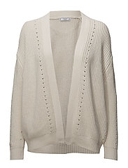 Ribbed cotton cardigan - LIGHT BEIGE