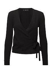 Wrap tied cardigan - BLACK