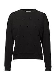 Crystals cotton sweatshirt - BLACK