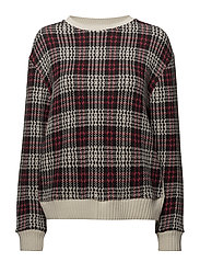 Checks knitted sweater - RED