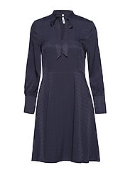 Satin tie dress - NAVY