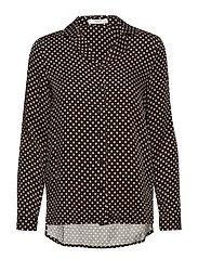 Satin print shirt - BLACK
