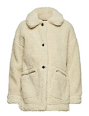 Faux shearling coat - LIGHT BEIGE