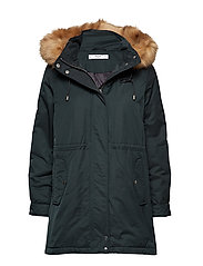 Furry hooded parka - BRIGHT GREEN