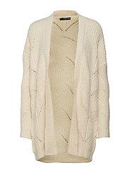 Knitted braided cardigan - LIGHT BEIGE