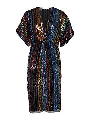 Side slit sequined gown - BLACK