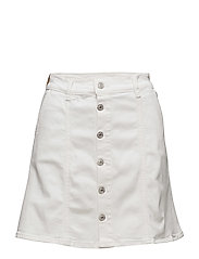Buttoned denim skirt - WHITE