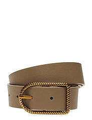 Embossed buckle belt - LIGHT BEIGE