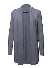 Ribbed lapel cardigan - LT-PASTEL BLUE