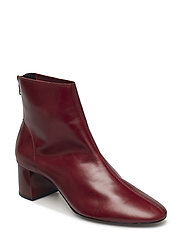 Heel leather ankle boot - DARK RED