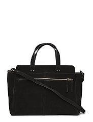 Leather shopper bag - BLACK