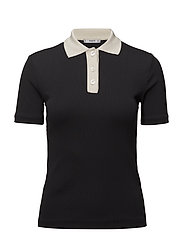 Contrast collar t-shirt - BLACK
