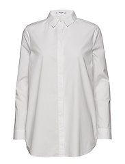 Essential cotton-blend shirt - NATURAL WHITE