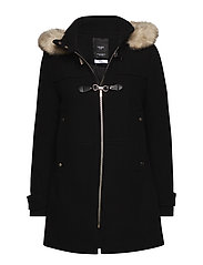 Hooded wool coat - BLACK