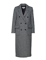 Structured houndstooth coat - DARK GREY
