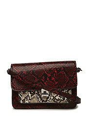 Monochrome snake-effect bag - RED