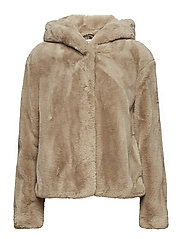 Hooded faux-fur coat - MEDIUM BROWN