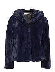 Hooded faux-fur coat - NAVY