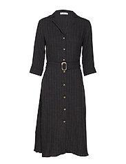 Belt striped dress - GREY