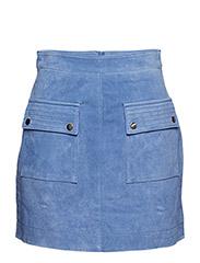 Pocketed suede skirt - LT-PASTEL BLUE