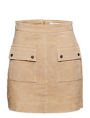 Pocketed suede skirt - MEDIUM BROWN