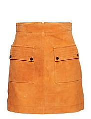 Pocketed suede skirt - MEDIUM YELLOW