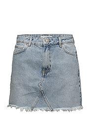 Frayed edges denim skirt - OPEN BLUE