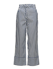 Striped cotton trousers - MEDIUM BLUE