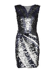 Sequin contrast-bodice dress - GREY