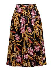 Printed midi skirt - BLACK