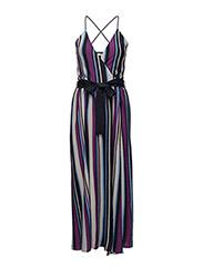 Stripped print dress - LT-PASTEL PURPLE