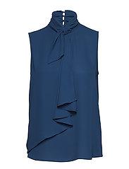 Tie-neck blouse - MEDIUM BLUE