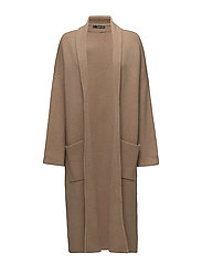 Straight pocketed coat - MEDIUM BROWN