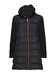 Wool-blend quilted coat - BLACK