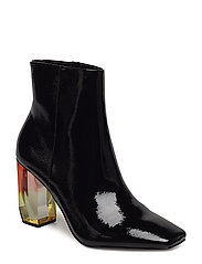 Geometric heel leather ankle boots - BLACK