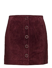 Pocketed leather skirt - DARK RED